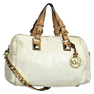 Michael Kors Mk Patent Leather Satchel in White