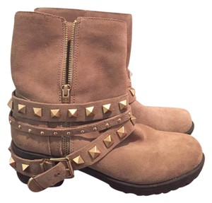 BCBGeneration Studded Motorcycle Tan Boots