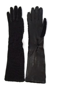 Prada Prada Black Persian Lamb & Leather Long Gloves