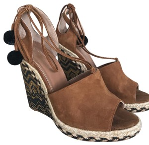 Aquazzura black and camel/tan Wedges