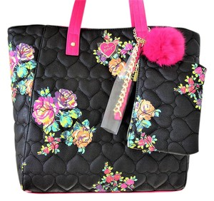 Betsey Johnson Quilted Hearts Pompom Betsey Tote in Black & Pink Floral