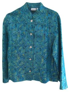 Chico's Silk turquoise and green Jacket