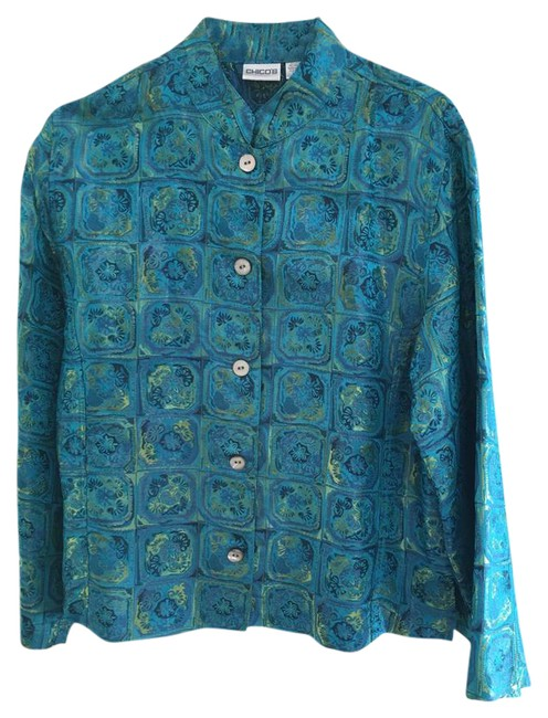 Preload https://img-static.tradesy.com/item/20530165/chico-s-turquoise-and-green-silk-spring-jacket-size-12-l-0-1-650-650.jpg