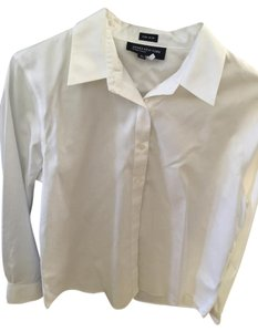 Jones New York Cotton Blouse Button Down Shirt white