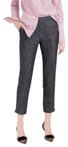 J.Crew New Wool Herringbone Sequin Petite Straight Pants Black