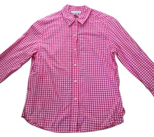 Evan Picone Blouse Cotton Button Down Shirt pink checked