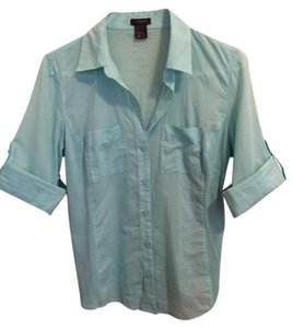 Ann Taylor Button Down Shirt Turquoise