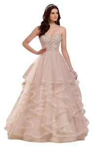 Essense of Australia Stone Tulle Over Champagne Royal Organza Princess Ball Gown with Sweetheart Bodice Style D2169 Formal Wedding Dress Size 6 (S)