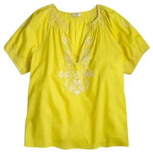J.Crew Peasant Sold Out Floral Embroidered Medium Top Yellow