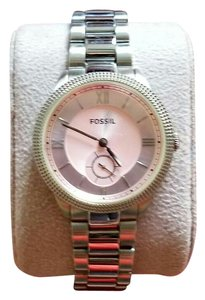Fossil Silver Watch w/ Light-Pink Face