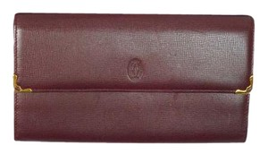 Cartier MIB Auth Cartier Leather Burgundy Leather Bi-fold Purse Long Wallet