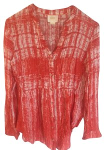 Maeve Work Casual Button Down Anthro Top Red/Orange/White