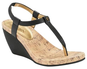 Chaps Wedge Sandal Strappy Black Sandals