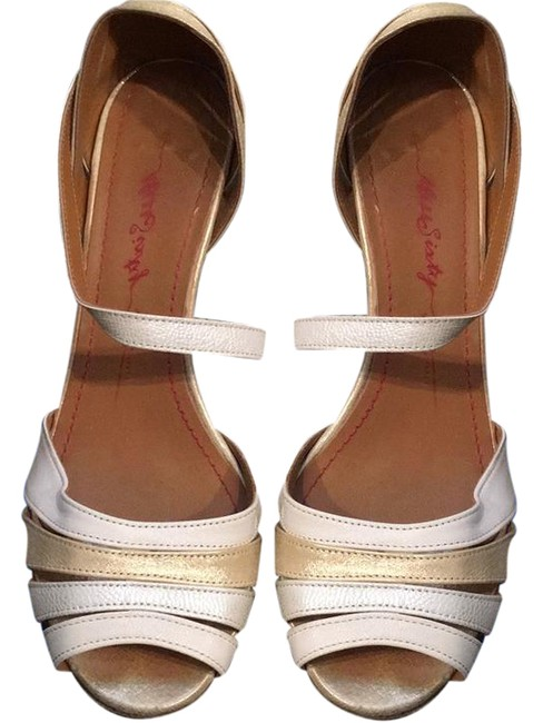 Miss Sixty Ivory Gold Mettalic Glitter Glam Pumps Size US 8.5 Regular (M, B) Miss Sixty Ivory Gold Mettalic Glitter Glam Pumps Size US 8.5 Regular (M, B) Image 1