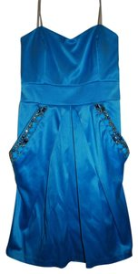 City Triangles short dress Blue Strapless on Tradesy