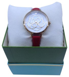 Kate Spade Red Leather and Gold-tone Metro Watch KSW1183