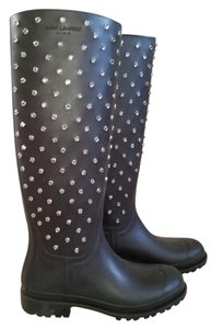 Saint Laurent Wellies Crystal Studded Black Boots