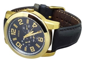 Guess GUESS U0265G2 Men's Gold Toned & Black Leather Strap Analogue Display