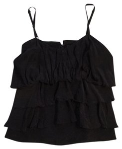 BCBGMAXAZRIA Silk Ruffles Top black