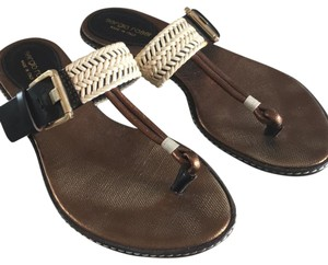 Sergio Rossi brown/ivory Sandals