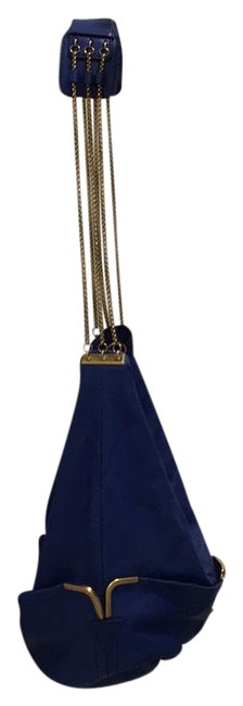 Chloé Bucket Shoulder With Royal Blue and Gold Chain Detail Lamb Skin Leather Hobo Bag Chloé Bucket Shoulder With Royal Blue and Gold Chain Detail Lamb Skin Leather Hobo Bag Image 1