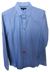 Banana Republic Woven Tailored Work Career Button Down Shirt Blue