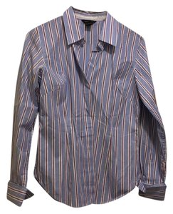 Moda International Button Down Shirt white, maroon, and blue stripes