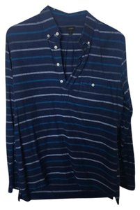 J.Crew Work Striped Cotton Henley Button Down Shirt Blue
