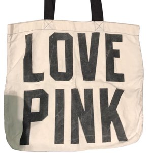 PINK Canvas Tote in beige