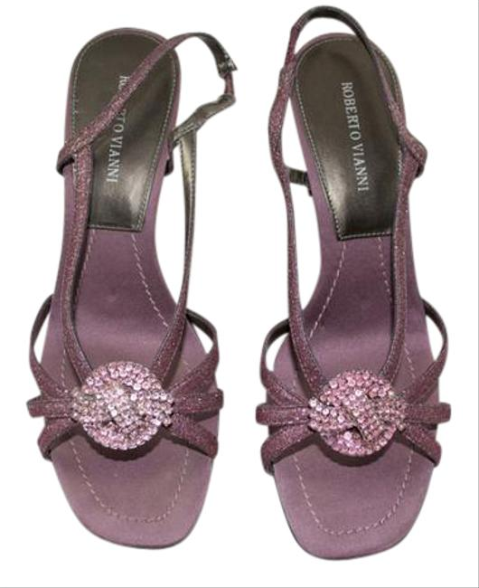 Mauve Strappy Sandal with Rhinestones Formal Shoes Size US 7 Wide (C, D) Mauve Strappy Sandal with Rhinestones Formal Shoes Size US 7 Wide (C, D) Image 1