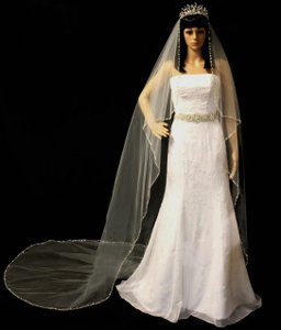 White Angel Cut Beaded Cathedral Wedding Veil