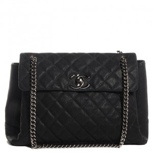 Chanel Pearly Flap Cc Quilted Caviar Cross Body Bag