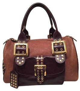 Be&D Be & D Brown Satchel in Two Tone Natural Brown/ Gold