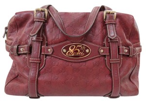 Gucci Leather Gg Boston Satchel in Red Brown