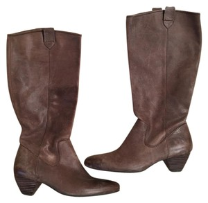 Nicole Long Brown Leather Boots