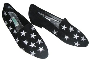 Quacker Factory Leather Suede Embroidered Stars Black and silver Flats