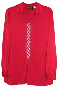 Bob Mackie Chevron Collar Longsleeve Top Cranberry