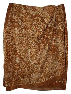 Emanuel Ungaro Vintage Silk Skirt multi - cream and deep mustard