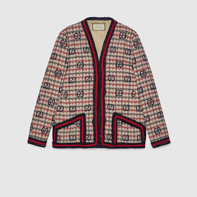 Item - Blue White and Red It38/40 Gg Check Tweed Jacket Size OS (one size)