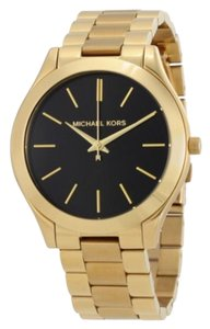 Michael Kors Slim Runway Black Dial Gold-tone Ladies Watch