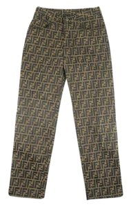 Fendi Zucca Straight Pants Brown/black