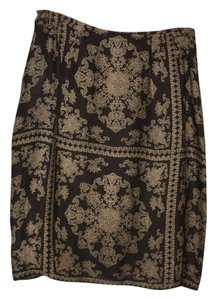 Emanuel Ungaro Vintage Silk Skirt Brown, cream