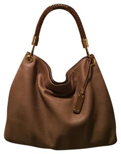 Michael Kors Collection Leather Grained Braided Handle Shoulder Bag