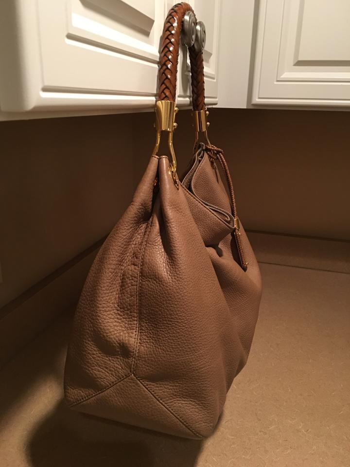 7663c9466f7b1b Michael Kors Collection Leather Grained Braided Handle Shoulder Bag Image  5. 123456