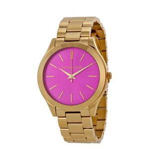 Michael Kors Runway Pink Dial Gold Tone Stainless Steel Ladies Watch