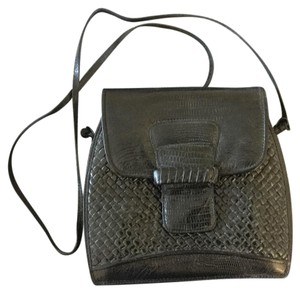 Susan Gail Vintage Designer Leather Woven Crocodile Cross Body Bag