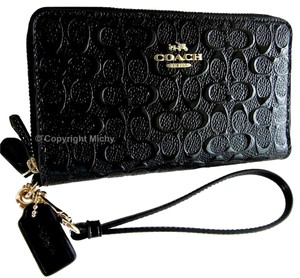 Coach Debossed Patent Leather Phone Wallet Double Zip Wristlet in Black