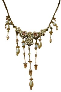 Michal Negrin Pearl floral embellished necklace