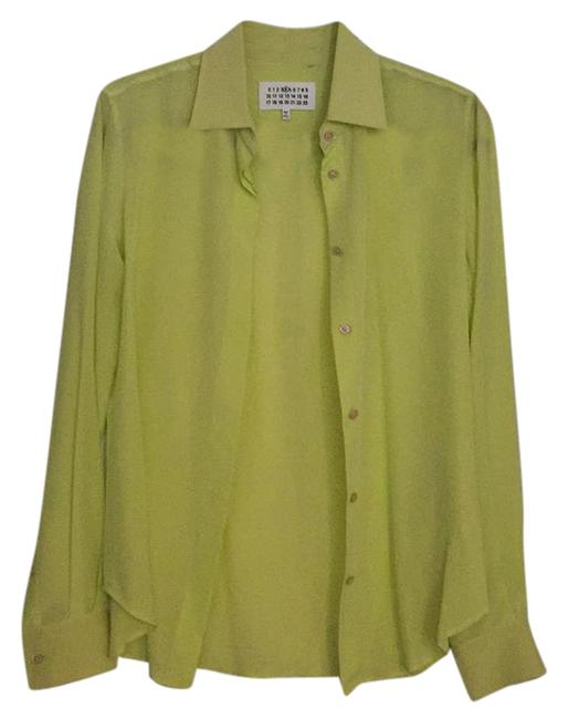 Item - Yellow Green Neon Silk Button-down Top Size 4 (S)