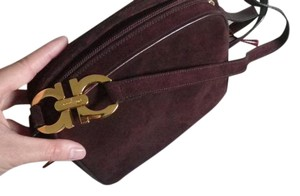 Salvatore Ferragamo Italian Suede Gold Hardware Classic Cross Body Bag